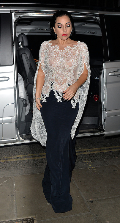Singer Lady Gaga enjoys at night out at The Box club after her gig at The O2 in London, UK. 24/10/2014<br /> BYLINE MUST READ : GOTCHAIMAGES.COM<br /> <br /> Copyright by &copy; Gotcha Images Ltd. All rights reserved.<br /> Usage of this image is conditional upon the acceptance <br /> of Gotcha Images Ltd, terms and conditions available at<br /> www.gotchaimages.com