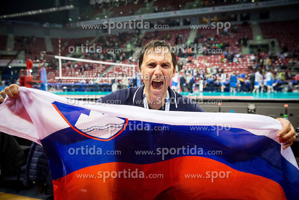 Gregor Humerca of OZS celebrates after winning during volleyball match between National teams of Slovenia and Italy in 1st Semifinal of 2015 CEV Volleyball European Championship - Men, on October 17, 2015 in Arena Armeec, Sofia, Bulgaria. Photo by Vid Ponikvar / Sportida
