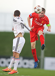 MADRID, SPAIN - Tuesday, November 4, 2014: Liverpool's captain Jordan Rossiter in action against Real Madrid CF during the UEFA Youth League Group B match at Ciudad Real Madrid. (Pic by David Rawcliffe/Propaganda)