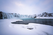 Winter at Godafoss, the waterfall of the gods.