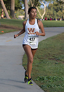 Nov 1, 2017; Long Beach, CA, USA; Jocelyn Diaz of Long Beach Wilson places fourth in the frosh-soph girls race in 20:39 during the Moore League cross country finals at Heartwell Park.