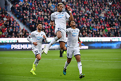 LEVERKUSEN, Nov. 4, 2018  Joelinton (C) of TSG 1899 Hoffenheim celebrates after scoring during the Bundesliga match between Bayer 04 Leverkusen and TSG 1899 Hoffenheim in Leverkusen, Germany, on Nov. 3, 2018. Leverkusen lost 1-4. (Credit Image: © Ulrich Hufnagel/Xinhua via ZUMA Wire)