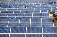 A worker cleans solar panels at Azure Solar Plant in Khadoda in Gujarat state in India on Dec 15, 2011.<br /> (Photo by Kuni Takahashi)