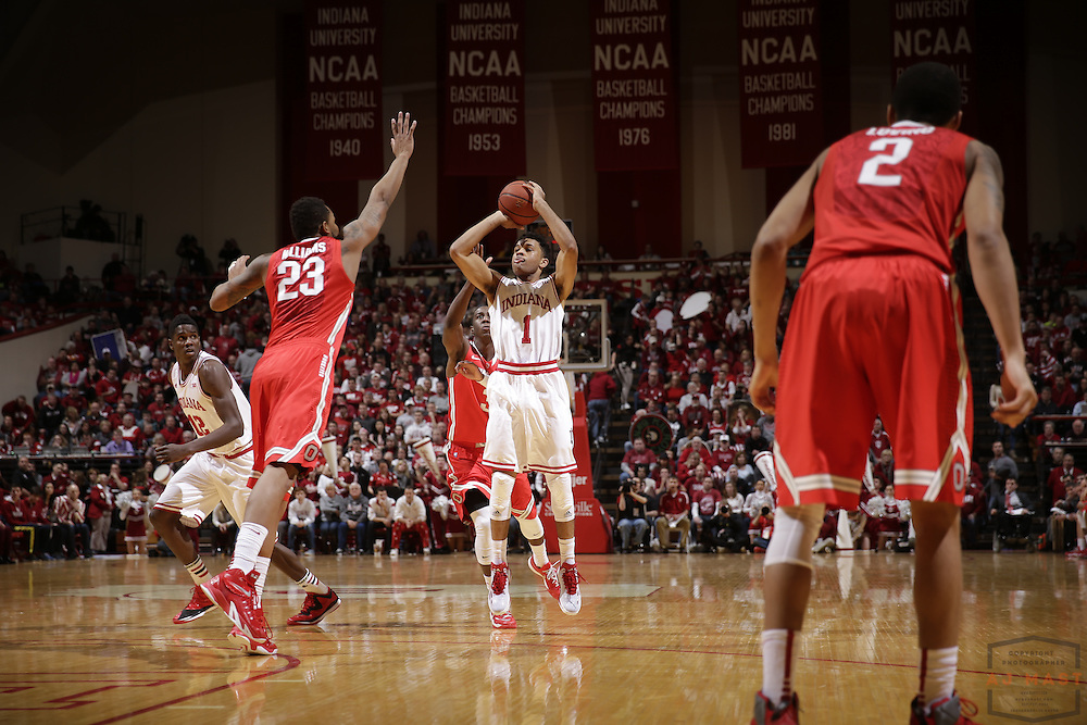 Indiana guard James Blackmon Jr. (1) as Ohio State played Indiana in an NCCA college basketball game in Bloomington, Ind., Saturday, Jan. 10, 2015. (AJ Mast)