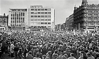 Thousands gather at the front of the City Hall, Belfast, in response to an Ulster Vanguard call for a 2 day strike to protest against the derogation of the N Ireland Parliament at Stormont and the introduction of direct rule by Westminster with the appointment of William Whitelaw as Secretary of State for N Ireland. Assembled gathering was address by William Craig, MP, leader, Ulster Vanguard. 197203270152a.<br /> <br /> Copyright Image from Victor Patterson, 54 Dorchester Park, Belfast, UK, BT9 6RJ<br /> <br /> t1: +44 28 9066 1296 (from Rep of Ireland 048 9066 1296)<br /> t2: +44 28 9002 2446 (from Rep of Ireland 048 9002 2446)<br /> m: +44 7802 353836<br /> <br /> e1: victorpatterson@me.com<br /> e2: victorpatterson@gmail.com<br /> <br /> The use of my copyright images is subject to my Terms & Conditions.<br /> <br /> It is IMPORTANT that you familiarise yourself with them. They are available on my website at www.victorpatterson.com.<br /> <br /> None of my copyright images may be used on a website unless they are visibly watermarked, i.e. © Victor Patterson within the body of the visible image. Metadata denoting my copyright must NOT be deleted. <br /> <br /> Web use is extra at currently recommended NUJ rates.
