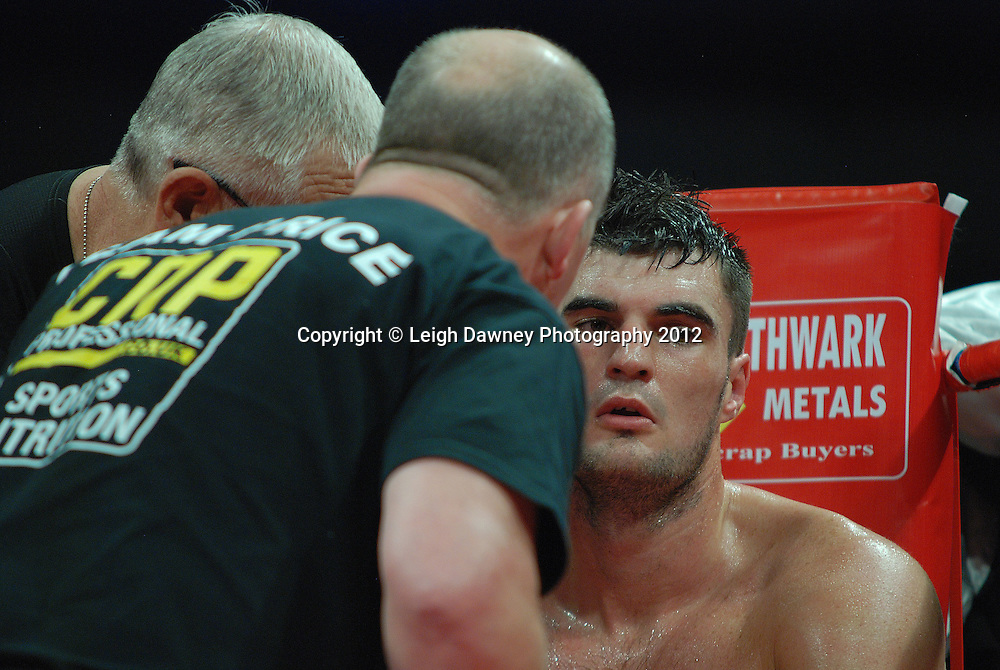 Danny Price (pictured) defeats Jevgenijs Andrejevs in a 6x3 Cruiserweight contest on the 30th November 2012 at Aintree Equestrian Centre, Aintree, Liverpool. Frank Maloney Promotions. Pictures by Leigh Dawney. ©leighdawneyphotography 2012.