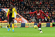 Jefferson Lerma (8) of AFC Bournemouth shoots at goal but puts it high over the bar during the Premier League match between Bournemouth and Watford at the Vitality Stadium, Bournemouth, England on 12 January 2020.
