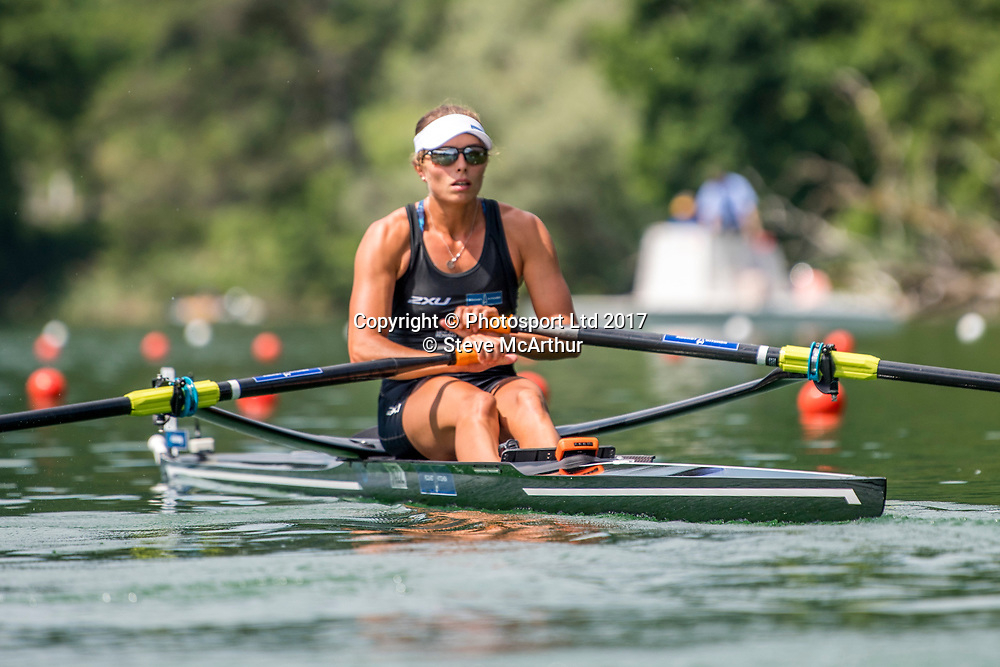 Hannah Osborne (Te Awamutu RC) NZ Womens single scull racing the qualification heat at WCIII on the Rotsee, Lucerne, Switzerland, Friday 7th July 2017 © Copyright Steve McArthur / www.photosport.nz