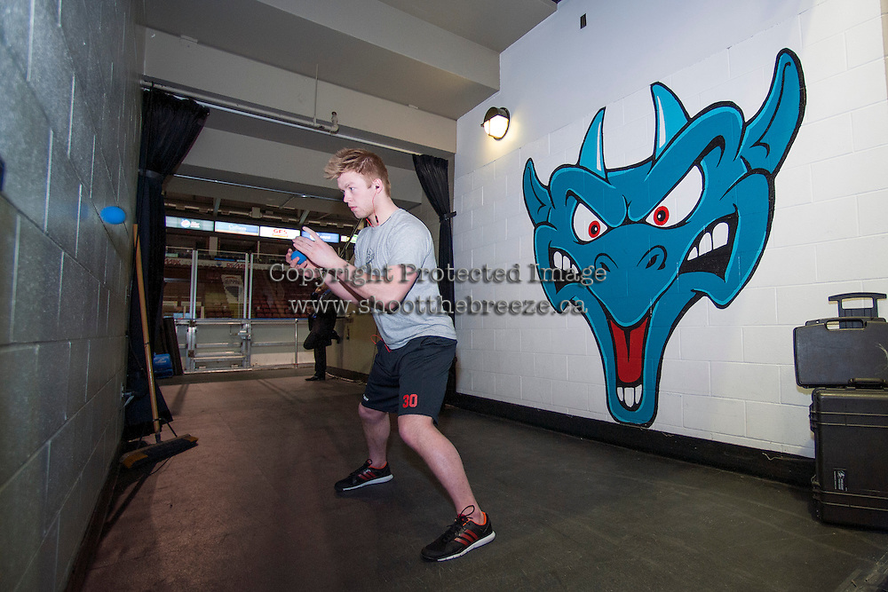 KELOWNA, CANADA -FEBRUARY 25: Jordon Cooke #30 of the Kelowna Rockets prepares for the game against the Prince George Cougars on February 25, 2014 at Prospera Place in Kelowna, British Columbia, Canada.   (Photo by Marissa Baecker/Getty Images)  *** Local Caption *** Jordon Cooke;