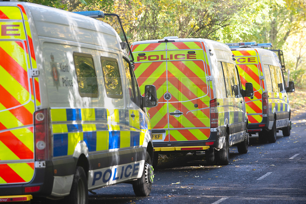 © Licensed to London News Pictures. 08/11/2018. New Ash Green, UK.Police vans parked. The search continues for  mum of five Sarah Wellgreen who has been missing for four weeks, the police are out in force with several search teams in the local area.  Photo credit: Grant Falvey/LNP