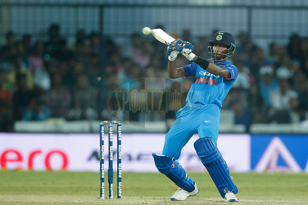 Hardik Pandya of India plays a shot during the 3rd One Day International between India and Australia held at the Holkar Stadium in Indore on the 24th  September 2017<br /> <br /> Photo by Deepak Malik / BCCI / SPORTZPICS