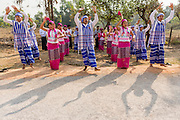 Traditional dancers in costume at new Road Opening Ceremony, Hpa-an