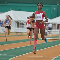 Xahria Santiago wins the Junior Women's 400m Hurdle dash at the Athletics Canada National Championships.