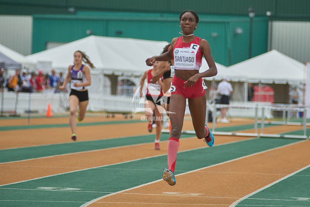 Xahria Santiago wins the Junior Women's 400m Hurdle dash at the Athletics Canada National Championships.