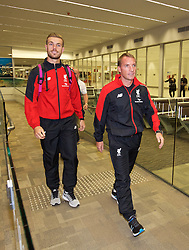 ADELAIDE, AUSTRALIA - Saturday, July 18, 2015: Liverpool's captain Jordan Henderson and manager Brendan Rodgers arrive arrive at Adelaide Airport ahead of a preseason friendly match against Adelaide United on day six of the club's preseason tour. (Pic by David Rawcliffe/Propaganda)
