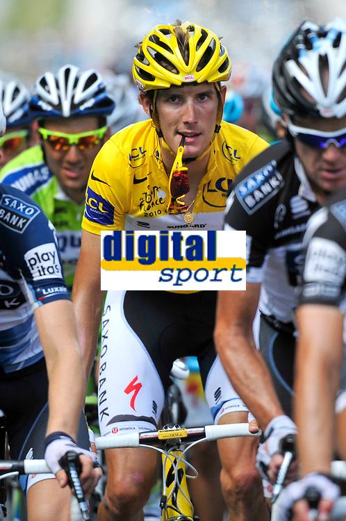 CYCLING - TOUR DE FRANCE 2010 - MENDE (FRA) - 16/07/2010 - PHOTO : VINCENT CURUTCHET / DPPI - <br /> STAGE 12 - BOURG DE PEAGE > MENDE - ANDY SCHLECK (LUX) / SAXO BANK