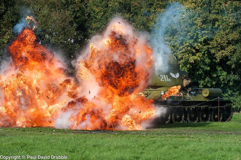 Pickering Showground War Time Weekend The Soviet 13th Guards T34 tank spectacularly knocked out with help of the Pyrotechnics team<br /> 11/12 October 2014<br /> Image &copy; Paul David Drabble <br /> www.pauldaviddrabble.co.uk