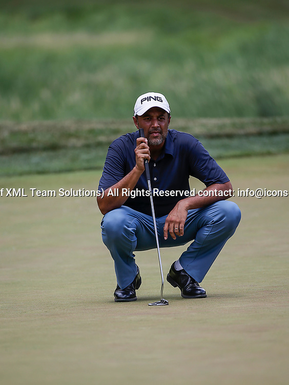 POTOMAC, MD - JULY 01:  Arjun Atwal lines up his put on the 6th green during the third round of the Quicken Loans National at TPC Potomac at Avenel Farm in Potomac, MD.(Photo by Justin Cooper/Icon Sportswire)