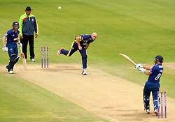Gloucestershire's Geraint Jones hits over the top off the bowling of Durham's Chris Rushworth - Mandatory by-line: Robbie Stephenson/JMP - 07966386802 - 04/08/2015 - SPORT - CRICKET - Bristol,England - County Ground - Gloucestershire v Durham - Royal London One-Day Cup