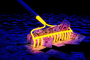 A glowing rake gathers a pile of money.Black light