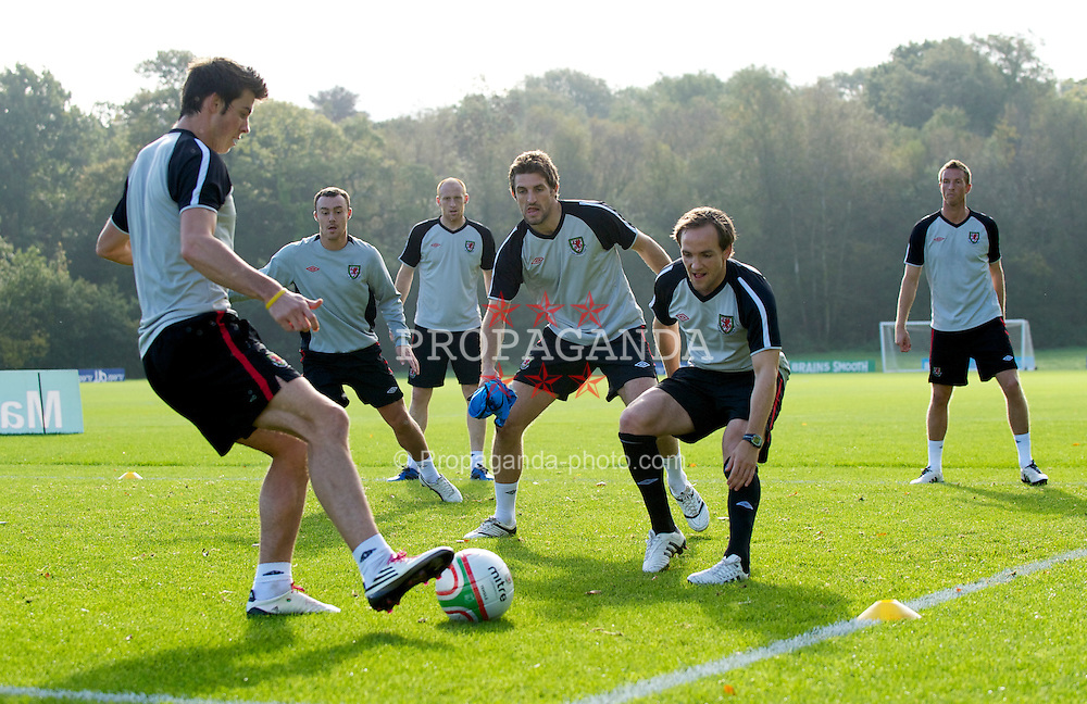 CARDIFF, WALES - Thursday, October 7, 2010: Wales' L-R Gareth Bale, Darcy Blake, James Collins, Sam Ricketts, David Vaughan and Danny Collins during a training session at the Vale of Glamorgan ahead of the UEFA Euro 2012 Qualifying Group G match against Bulgaria. (Pic by David Rawcliffe/Propaganda)