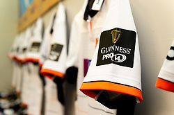 General views of Guinness Pro 14 branding on shirts in the Edinburgh Rugby changing room prior to kick off - Mandatory by-line: Ryan Hiscott/JMP - 05/10/2019 - RUGBY - Cardiff Arms Park - Cardiff, Wales - Cardiff Blues v Edinburgh Rugby - Guinness Pro 14