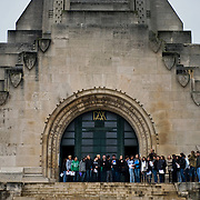 A school visiting the Douaumont ossuary (L'ossuaire de Douaumont) built in 1932 is a memorial containing the remains of soldiers who died at the battle of Verdun (21 February 1916 – 19 December 1916) During the battle 230.000 man died.  Ossuaire de Verdun, Verdun, ‪Meuse‬, France