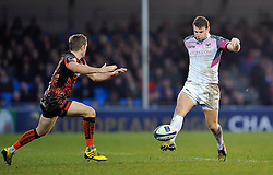 Dan Biggar of the Ospreys puts boot to ball - Mandatory byline: Patrick Khachfe/JMP - 07966 386802 - 24/01/2016 - RUGBY UNION - Sandy Park - Exeter, England - Exeter Chiefs v Ospreys - European Rugby Champions Cup.