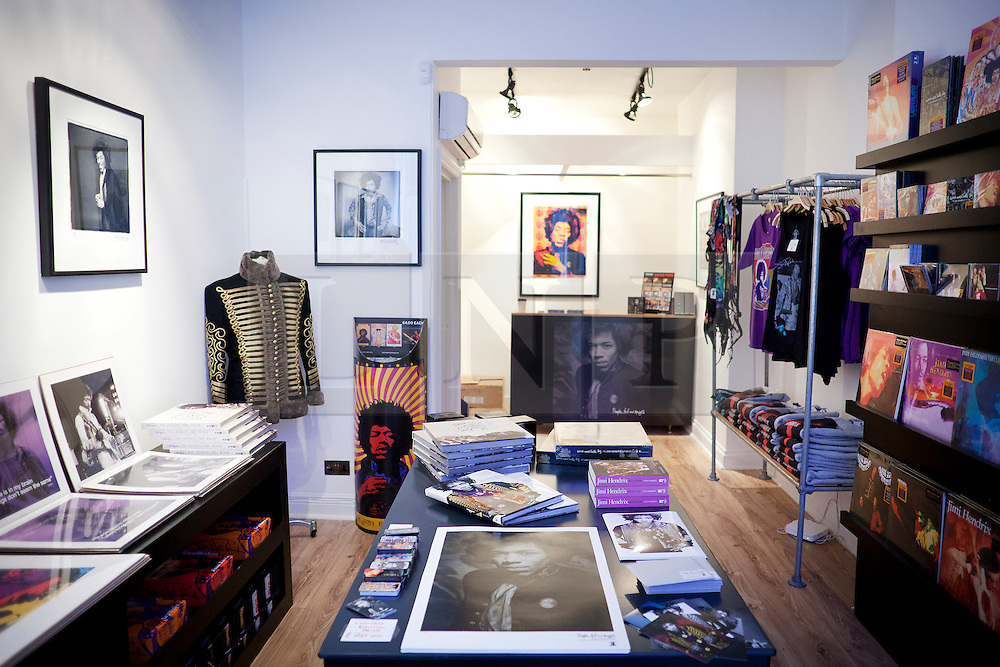 © Licensed to London News Pictures. 02/04/2013. London, UK. Exclusive Jimi Hendrix merchandise is seen in a pop-up shop set up to celebrate a new album by the late guitar legend in London today (02/04/2013). The shop, called 'People, Hell and Angels' 'located near London's Carnaby Street, runs from the 1st of April until the 12th of April 2013 and features memorabilia, music and photographs of the guitarist and singer who died in 1970 of a drug overdose. Photo credit: Matt Cetti-Roberts/LNP