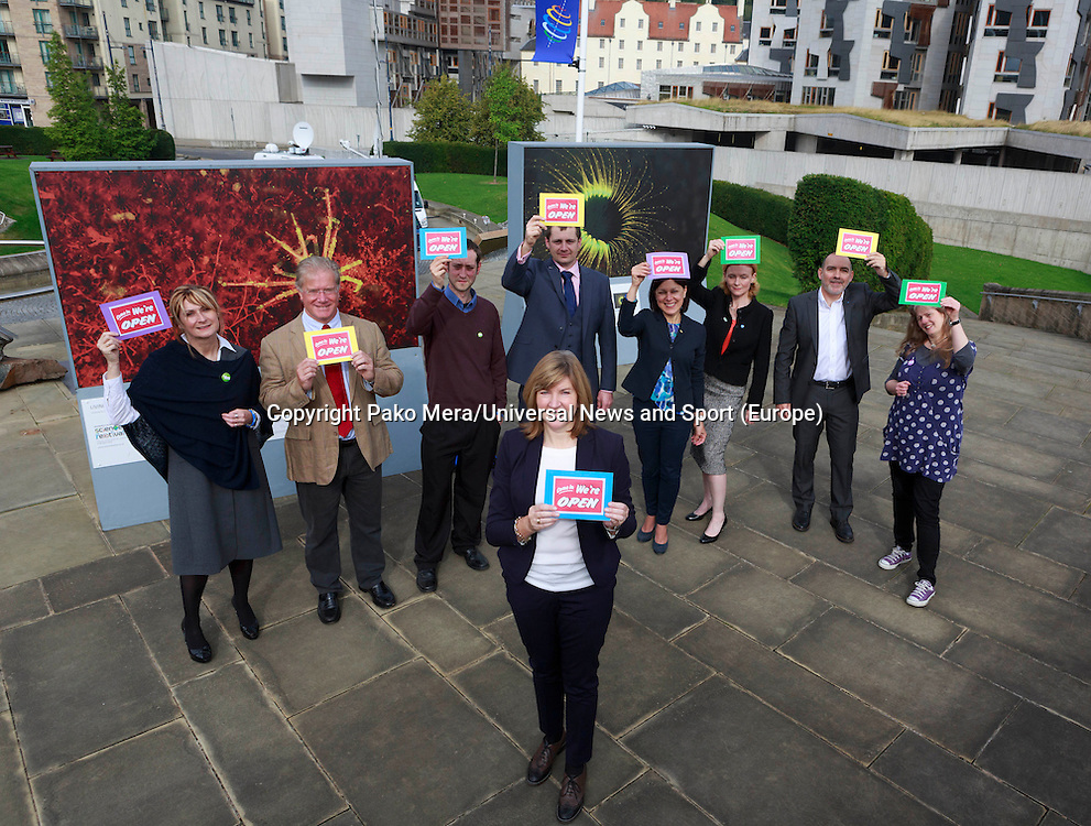 Members of the Green MSP posing for a photos taken in the firs place Alison Johnstone with L-R Jane W Denholm, Iain Taylor, Malcon Wadia, Stephen Ransay, Jil Murphy, Alex Lambert, David Brook and Lari Don.<br /> Green MSP to hit independence referendum trail. Alison Johnstone to highlight how voting Yes on September 18 could help set up a small business revolution in the Dynamic Earth, Edinburgh.<br /> Pako Mera/Universal News And Sport (Europe) 09/09/2014