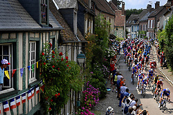 July 14, 2018 - Amiens Metropole, FRANCE - Illustration picture shows the peloton passing Gerberoy during the eighth stage of the 105th edition of the Tour de France cycling race, from Dreux to Amiens Metropole (181 km), in France, Saturday 14 July 2018. This year's Tour de France takes place from July 7th to July 29th. BELGA PHOTO YORICK JANSENS (Credit Image: © Yorick Jansens/Belga via ZUMA Press)
