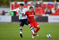 MOSCOW, RUSSIA - Tuesday, September 26, 2017: Liverpool's captain Ben Woodburn and Spartak Moscow's Artem Voropaev during the UEFA Youth League Group E match between Liverpool and Spartak Moscow FC at the Spartak Academy. (Pic by David Rawcliffe/Propaganda)