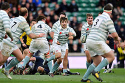 Harry Peck of Cambridge University passes the ball - Photo mandatory by-line: Patrick Khachfe/JMP - Mobile: 07966 386802 11/12/2014 - SPORT - RUGBY UNION - London - Twickenham Stadium - Oxford University v Cambridge University - The Varsity Match