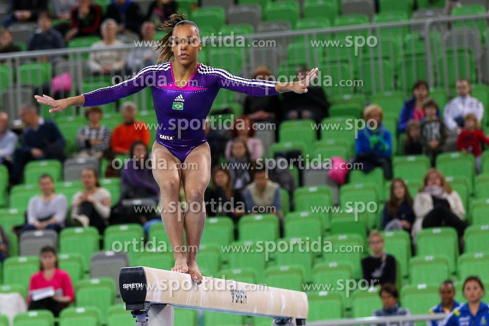 Lorrane Dos Santos Oliveira of Brasil competes in Balance Beam during Final of Artistic Gymnastics World Challenge Cup Ljubljana, on April 5, 2015 in Arena Stozice, Ljubljana, Slovenia. Photo by Morgan Kristan / Sportida