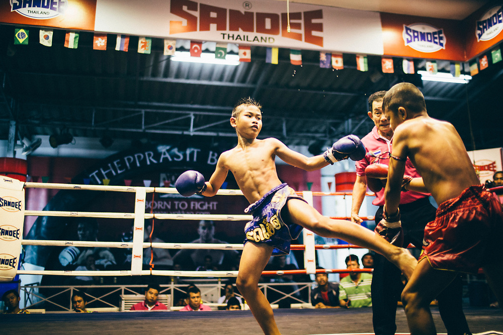 Boonsong Samrong throws a kick at his match at Thepprasit Boxing Stadium in Pattaya, Thailand.