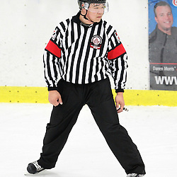 GEORGETOWN, - Mar 19, 2016 -  Ontario Junior Hockey League game action between Georgetown Raiders and North York Rangers. Game 2 of the semi final playoff series. At the Alder Street Arena, ON. OHA Referee Park during the first period. (Photo by Tim Bates / OJHL Images)