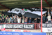 FGR fans in the away stand during the Vanarama National League first leg play off match between Dagenham and Redbridge and Forest Green Rovers at the London Borough of Barking and Dagenham Stadium, London, England on 4 May 2017. Photo by Shane Healey.