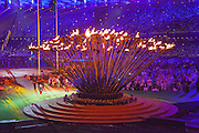 Olympic cauldron opens up as the flames become extinguished