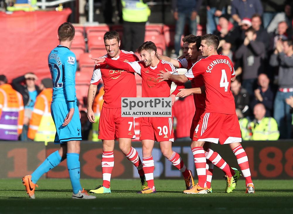 Tottenham Hotspur Southampton Adam Lallana clebrates his opening goal<br /> <br /> SOUTHAMPTON V TOTTENHAM HOTSPUR 22 December 2013......(c) PETER FORD   SportPix.org.uk