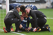 Leeds United forward Patrick Bamford (9) scores a goal 0-1 and gets injured during the EFL Sky Bet Championship match between Bristol City and Leeds United at Ashton Gate, Bristol, England on 9 March 2019.