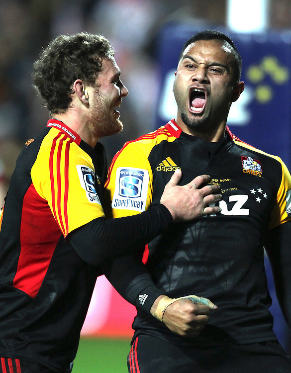 Chiefs' Lelia Masaga is congratulated on scoring a try against the Crusaders by Tawera Kerr-Barlow in a Super Rugby semi final match, Waikato Stadium, Hamilton, New Zealand, Saturday, July 27, 2013.  Credit:SNPA / David Rowland