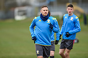 Barry Douglas of Leeds United Under 23's warming up before the U23 Professional Development League match between Barnsley and Leeds United at Oakwell, Barnsley, England on 9 March 2020.