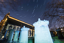 Edinburgh at Night - Star Trails at Greyfriars kirk