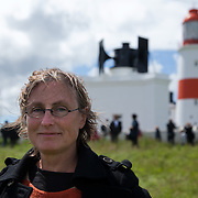 Lise Autogena, tired, relieved and very happy after a successful event and beautifully played requiem to all fog horns.<br /> <br /> A REQUIEM FOR THE FOGHORN, PERFORMED BY SEVENTY FIVE BRASS PLAYERS, A FOGHORN AND AN ARMADA OF SHIPS<br /> A project by Danish artist, Lise Autogena, in collaboration with Joshua Portway and composer Orlando Gough. <br /> Ships horns from an armada of vessels off-shore, seventy five brass players on-shore and the Souter Lighthouse Foghorn  performed a Foghorn Requiem, an ambitious musical performance to mark the disappearance of the sound of the foghorn from the UK's coastal landscape.<br /> Conducted and controlled from a distance, ships at sea sounded their horns to a musical score, that will took into account landscape and the physical distance of sound. The performance took place by Souter Light House by South Shields, UK with thousands of spectators and more than 50 ships off-shore.