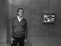 """Jeff Wall, Canadian artist best known for his large-scale back-lit cibachrome photographs poses for a Portrait in his """"Tableaux Pictures Photographs"""" exhibition at the Kunstahaus Bregenz."""
