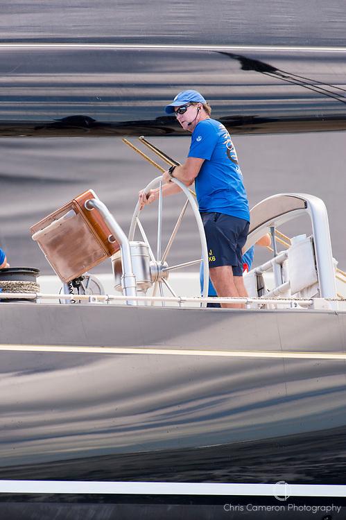 Bermuda, 13th June 2017. America's Cup Superyacht regatta. J Class, Kenny Reid helming Hanuman, JK6