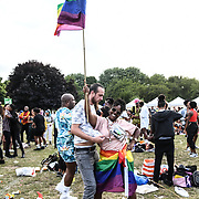 Mnek performs at UK Black Pride 2019 - Thousands attends the UK Black Pride is Europe's largest party for LGBT+ people of African, Asian, Caribbean, Middle Eastern and Latin American descent, and creates a safe space for people from these diverse backgrounds to celebrate their sexuality, culture and shared experiences at Haggerston park, on 7 July 2019, London, United Kingdom.