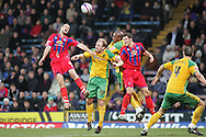 London - Tuesday, January 1st, 2008: Clint Hill (L) of Crystal Palace wins the ball from Gary Doherty (C) and Dion Dublin (R)of Norwich City during the Coca Cola Championship match at Selhurst Park, London. (Pic by Mark Chapman/Focus Images)