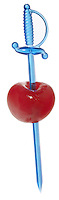 cherry speared by blue plastic sword