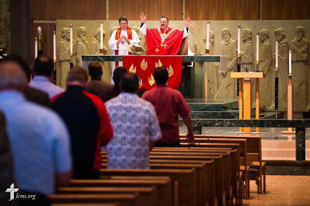 The Rev. Dr. Matthew C. Harrison, president of The Lutheran Church–Missouri Synod, presides over the Divine Service and Installation of Officers in the Chapel of Christ Triumphant following the close of the 54th Convention of the South Wisconsin District on Tuesday, June 9, 2015, at Concordia University Wisconsin in Mequon, Wis. LCMS Communications/Erik M. Lunsford